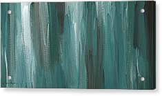 Meet Halfway - Teal And Gray Abstract Art Acrylic Print by Lourry Legarde