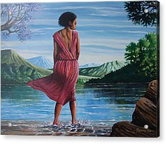 Acrylic Print featuring the painting Meet Me At The River by Anthony Mwangi