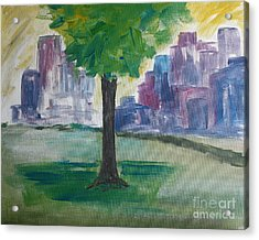 Meet Me By Our Tree In Central Park Acrylic Print by Julie Lueders