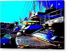 Acrylic Print featuring the photograph Mega Yachts by Rogerio Mariani
