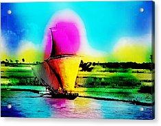 Meghna River, Bangladesh. Fishermen Sail Upstream Along The Bank Of The River. Acrylic Print