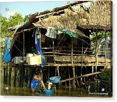 Mekong River Chores Acrylic Print