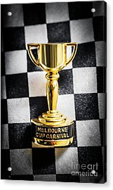 Melbourne Cup Pin On Mens Chequered Fashion Tie Acrylic Print