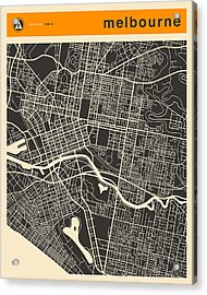 Melbourne Map Acrylic Print by Jazzberry Blue