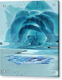 Melting Blue Rose  Acrylic Print by Anne-Elizabeth Whiteway