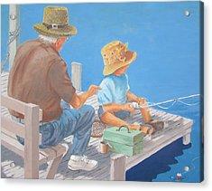 Acrylic Print featuring the painting Memorable Day Fishing by Tony Caviston