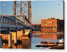 Memorial Bridge At Sunrise Acrylic Print by Eric Gendron