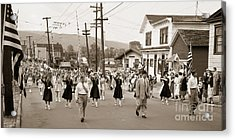 Memorial Day Parade Ashley Pa With Train Station And The Huber Colliery In Background 1955 Acrylic Print