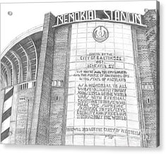 Memorial Stadium Acrylic Print by Juliana Dube