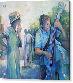 Memories -  Woman Is Intrigued By Musician.  Acrylic Print by Susanne Clark