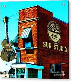 Memphis Sun Studio Birthplace Of Rock And Roll 20160215sketch Sq Acrylic Print by Wingsdomain Art and Photography