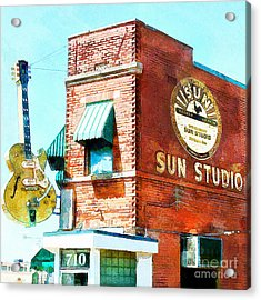 Memphis Sun Studio Birthplace Of Rock And Roll 20160215wcstyle Square Acrylic Print by Wingsdomain Art and Photography