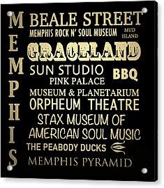 Memphis Tennessee Famous Landmarks Acrylic Print
