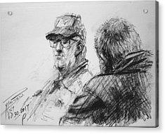 Men At Tims Cafe Acrylic Print