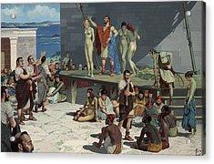 Men Bid On Women At A Slave Market Acrylic Print by H.M. Herget