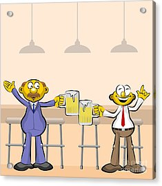 Men Drinking Beer In The Bar Acrylic Print