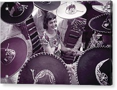 Men In Sombreros Surround A Woman Acrylic Print by B. Anthony Stewart