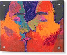 Men Kissing Colorful 2 Acrylic Print by Shungaboy X