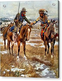 Men Shaking Hands On Horseback Acrylic Print by Charles Marion Russell