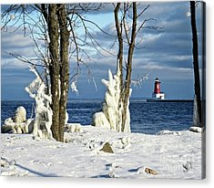 Menominee Lighthouse Ice Sculptures Acrylic Print