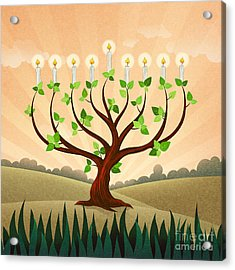 Menorah Tree Acrylic Print by Bedros Awak