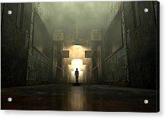 Mental Asylum With Ghostly Figure Acrylic Print by Allan Swart