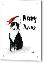 Acrylic Print featuring the painting Meowy Xmas by Colleen Taylor