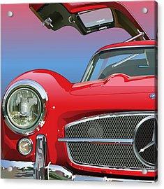 Mercedes 300 Sl Gullwing Detail Acrylic Print by Alain Jamar
