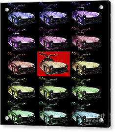 Mercedes 300sl Gullwing . Front Angle 2 Artwork Acrylic Print by Wingsdomain Art and Photography
