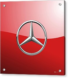 Mercedes-benz - 3d Badge On Red Acrylic Print by Serge Averbukh
