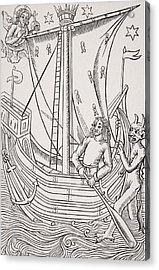 Merchant Vessel In A Storm. Facsimile Acrylic Print