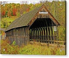 Meriden Covered Bridge Acrylic Print by Liz Mackney