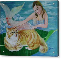 Mermaid And Cat Acrylic Print by Lian Zhen