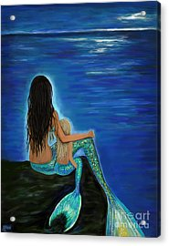 Acrylic Print featuring the painting Mermaid And Her Daughter by Leslie Allen