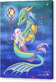Mermaid And Sea Dragon Acrylic Print