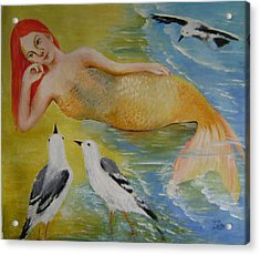 Mermaid And Seagulls Acrylic Print by Lian Zhen