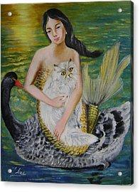 Mermaid And Swan Acrylic Print by Lian Zhen