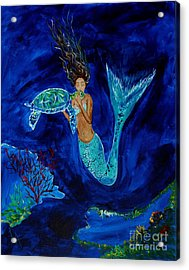 Mermaid And The Sea Turtle Acrylic Print