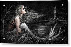 Mermaid At Midnight Acrylic Print by Justin Gedak