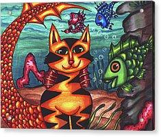 Mermaid Cat Fish Sealife Art Acrylic Print