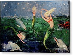 Mermaid Dance With Dolphins Acrylic Print