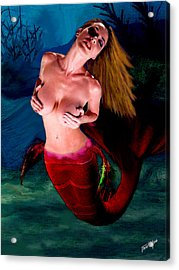 Mermaid Desire Acrylic Print by Tray Mead