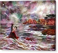 Mermaid In Rainbow Raindrops Acrylic Print by Laura Iverson