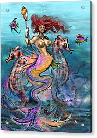 Acrylic Print featuring the painting Mermaid by Kevin Middleton
