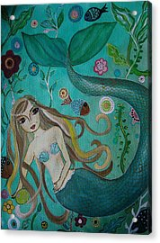 Acrylic Print featuring the painting Mermaid-lady Of The Sea by Pristine Cartera Turkus