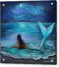 Mermaid Moon And Stars Acrylic Print