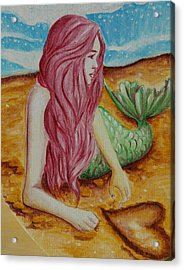 Mermaid On Sand With Heart Acrylic Print by Beryllium Canvas