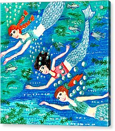 Mermaid Race Acrylic Print by Sushila Burgess
