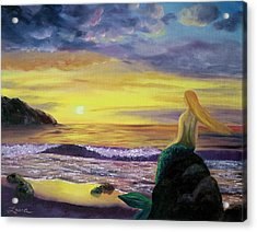 Mermaid Sunset Acrylic Print by Laura Iverson
