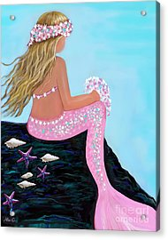 Acrylic Print featuring the painting Mermaid Sweetie by Leslie Allen